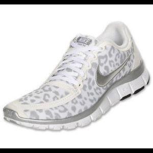 Nike Free 5.0 snow leopard sneakers.  Size 8.5